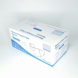 Máscara Cirúrgica Tripla Descartável - Branca - Caixa c/50un